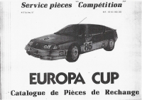 ALpine GTA Europacup pièce rechange